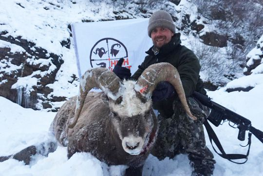 hunting to snow sheep in Russia