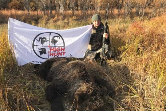 Hunting to brown bear in Russia
